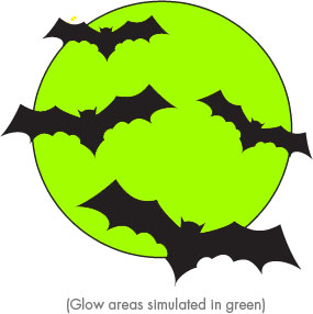 Moon and Bats Glow in dark